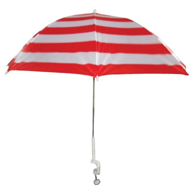 Parasol de patio à pince, 47 po x 34 po, corail/blanc