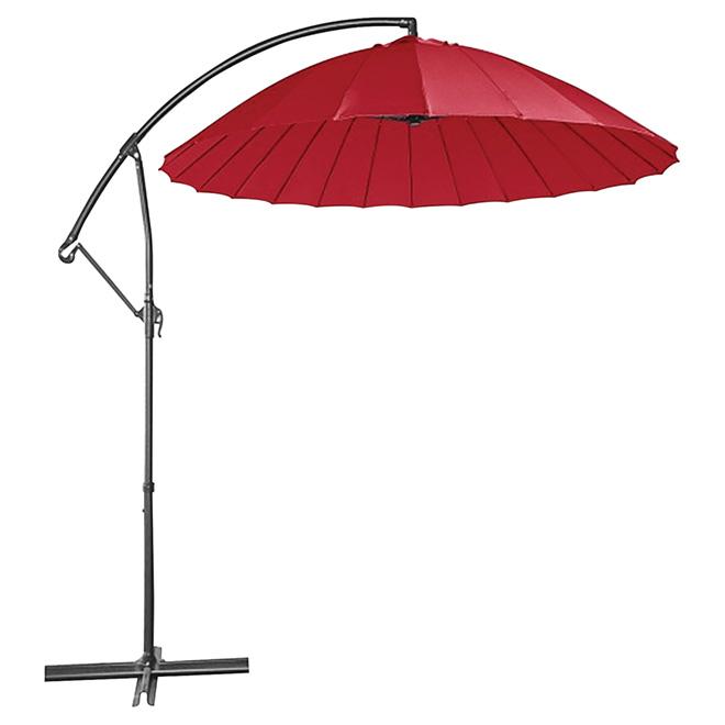 Parasol en porte-à-faux pour patio, rond, 10', rouge vif