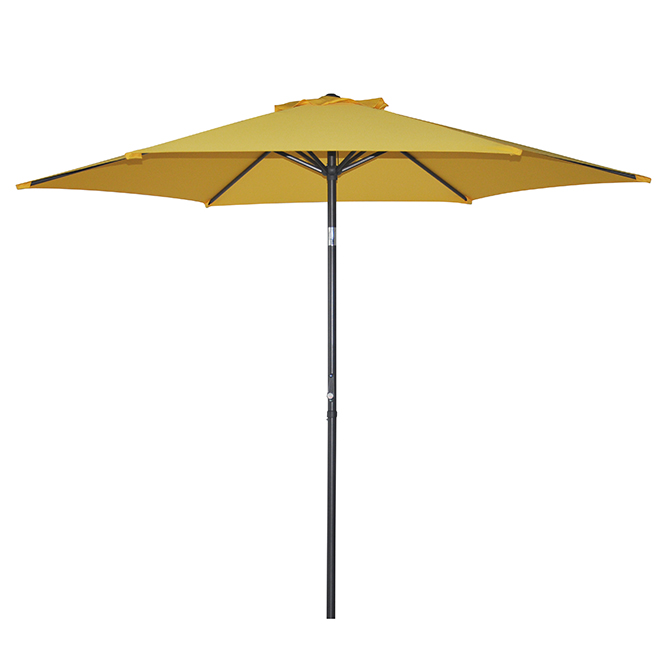 Parasol de patio de type marché, inclinable, 8,8', jaune