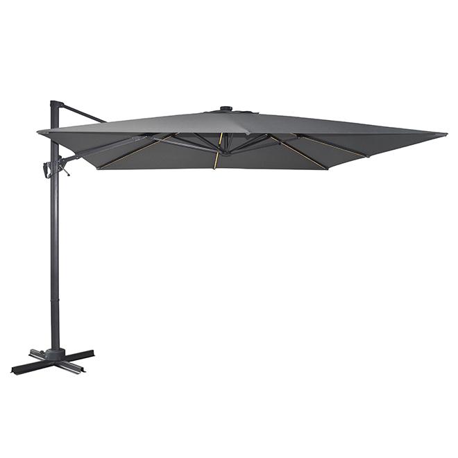 Parasol en porte-à-faux à lumière solaire, 10', gris
