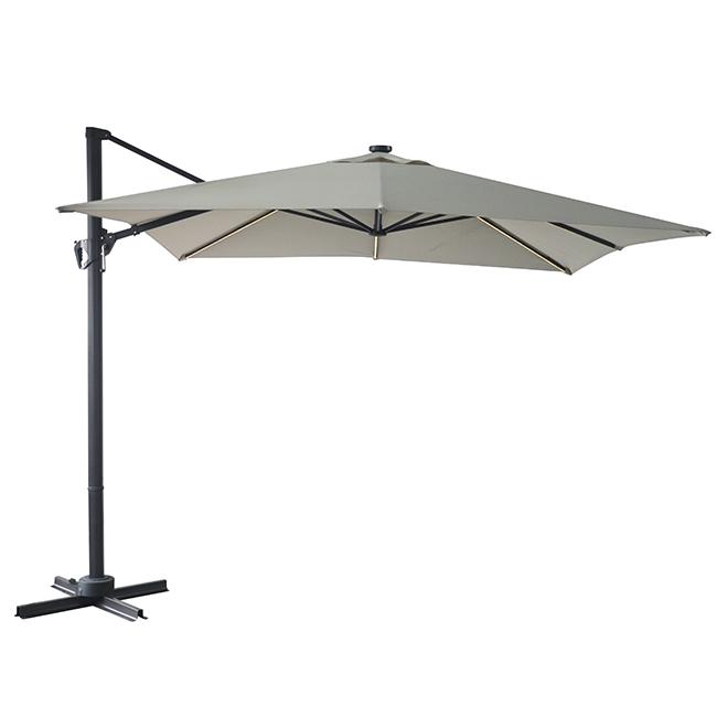Solar-Light Cantilever Umbrella - 10' - Taupe