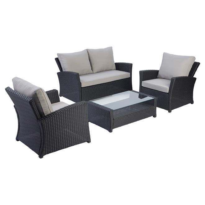 Mobilier de salon pour patio Piedmont, gris, 4 places
