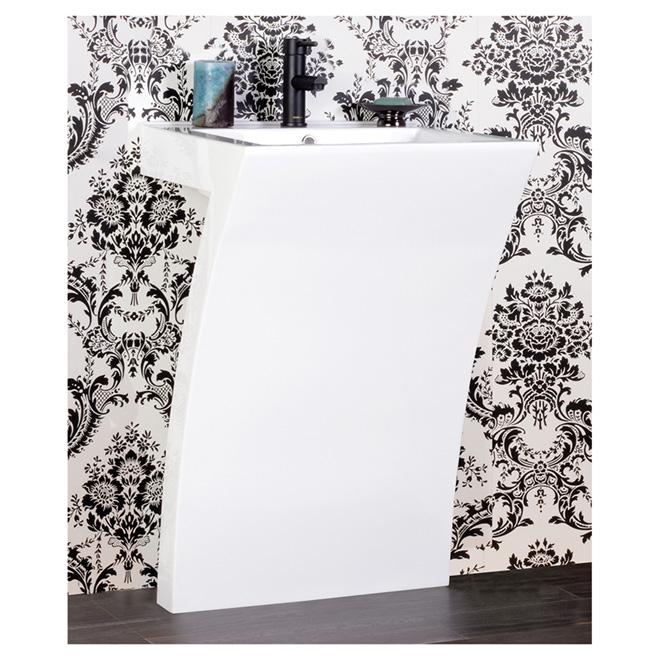 """Lavabo sur piedestal Moderne, 21 7/8"""" x 19 1/4"""", blanc"""