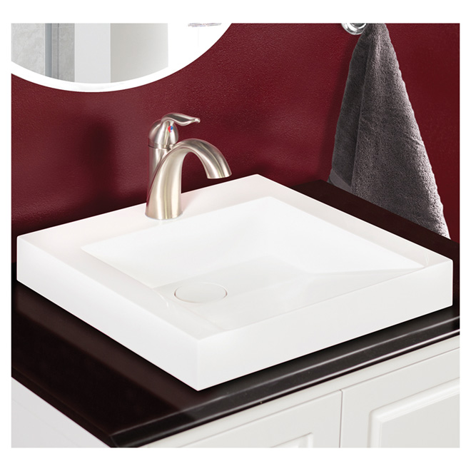 Sink - Front Sloped Vessel Lavatory - White Cultured Marble