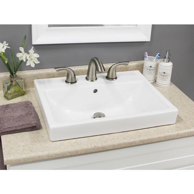 Project Source Lanvin Rectangular Drop-in Sink - Porcelain
