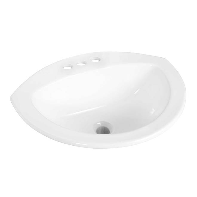 Project Source Ladelle Semi-Oval Drop-in Lavatory - Vitreous China