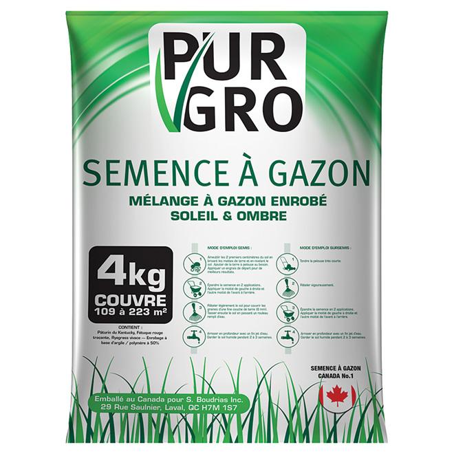 Semence à pelouse enrobée tout usage Pur Gro, 4 kg