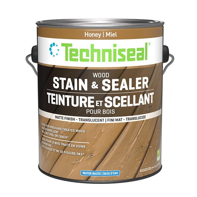 Teinture et scellant pour bois à base d'eau Techniseal, miel, mat, 3,78 L