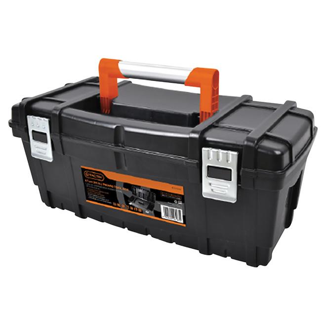 Coffre à outils, plastique/métal, noir/orange