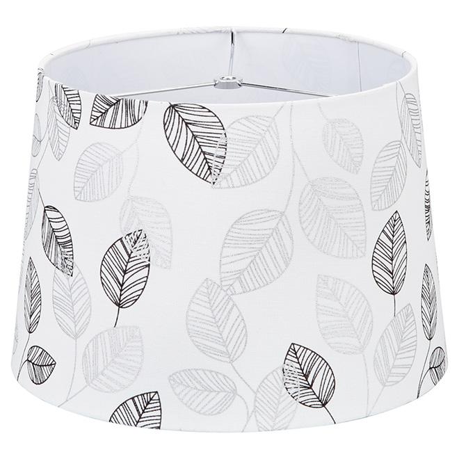 Abat-jour à motif « feuilles et lin », 13 po, blanc/gris