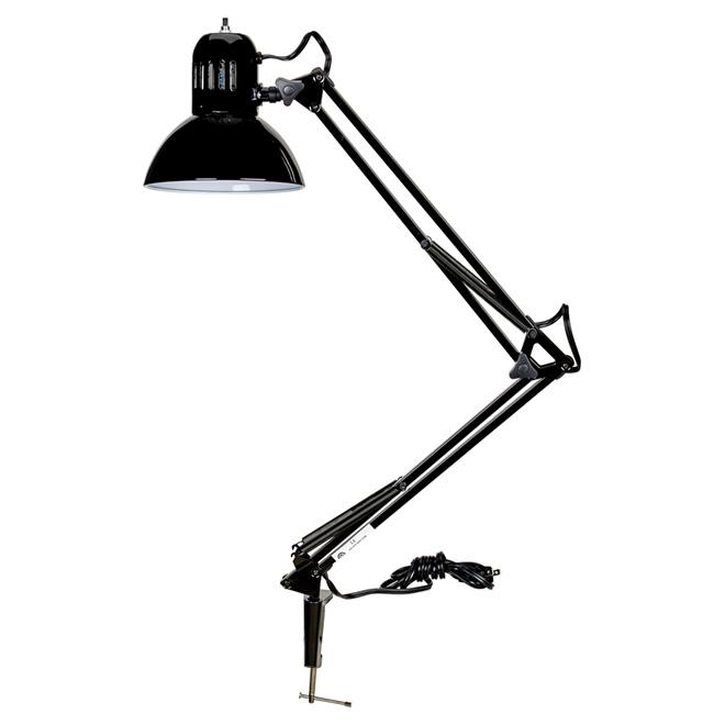 """Lampe de bureau à pince et bras pivotant, 37,5"""", noir"""