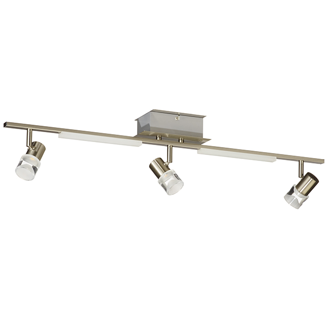 Luminaire sur rail à 3 lumières DEL, nickel brossé