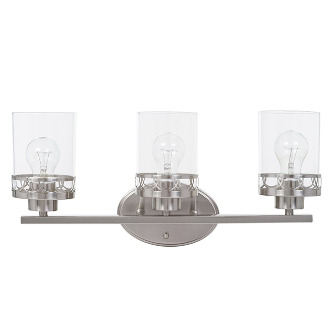 Wall Fixture 3 Lights Clear Glass Brushed Nickel