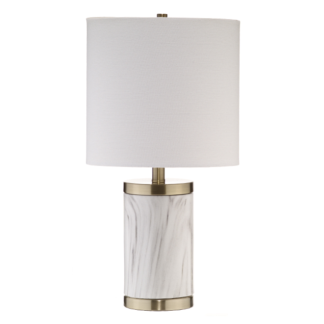Table Lamp - White Fabric Shade - Marble Base - Brass Accents