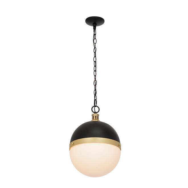 """Luminaire de suspension Catalina, noir et or, 17"""""""