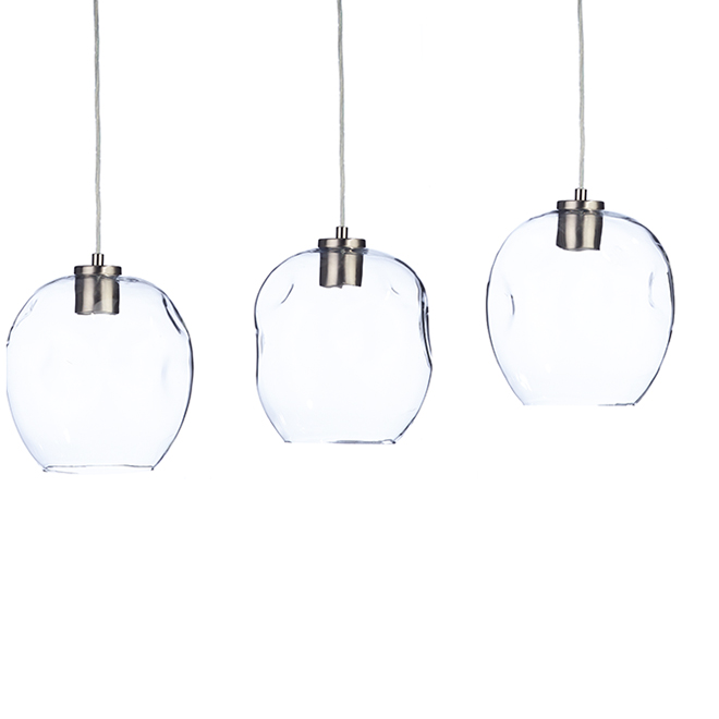 Luminaire de suspension Catalina, 3 lumières, nickel brossé
