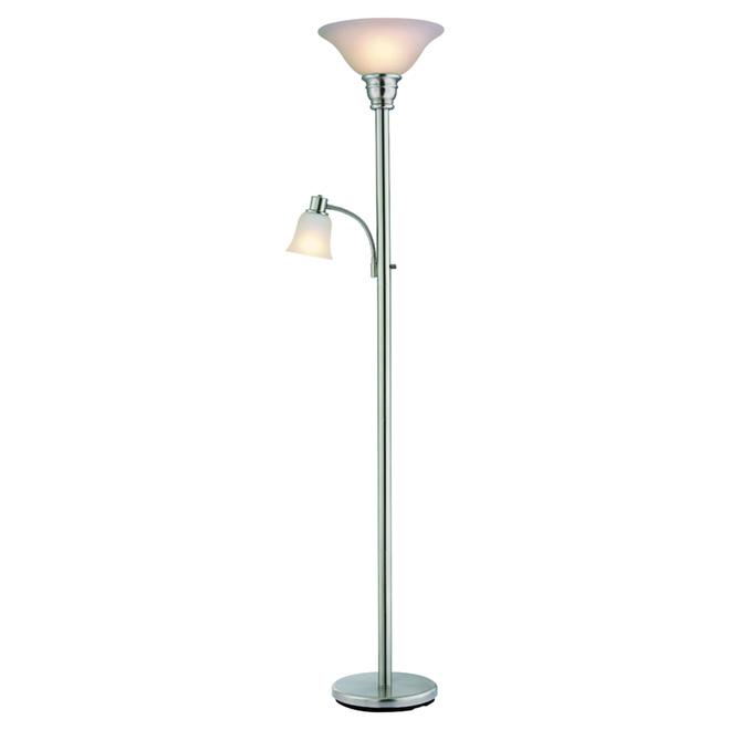 """Lampe torchère et lampe de lecture 71"""", acier brossé"""
