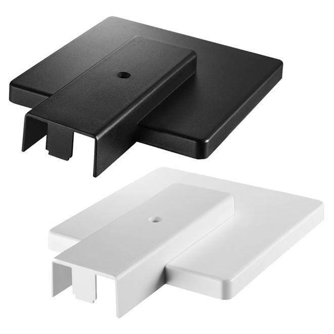 Cache extrémité pour rail d'éclairage, noir et blanc