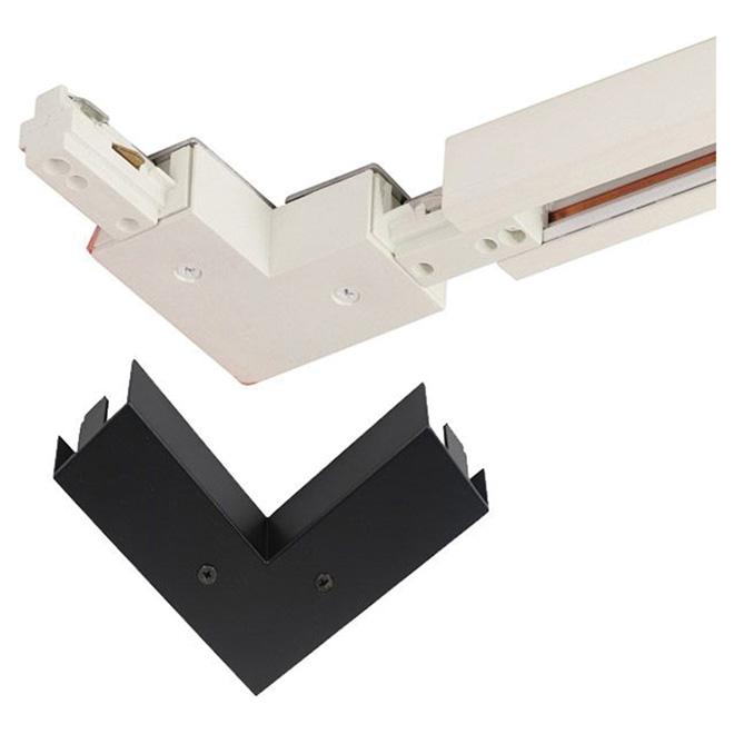 Connecteur à 90 degré pour rail d'éclairage, noir et blanc