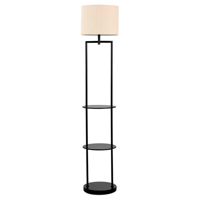 """Lampe sur pied avec tablette 60"""", noir"""