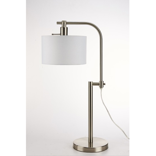 Lampe de table réglable, 60 W ou LFC, nickel brossé