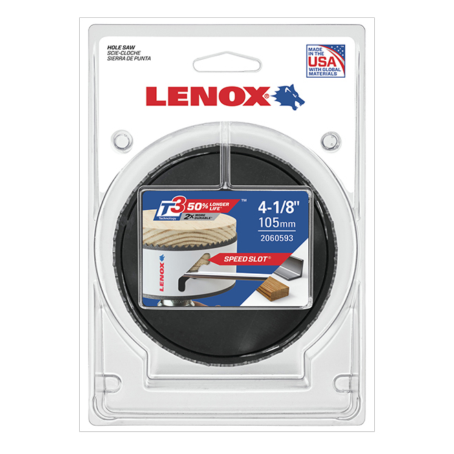 Lenox Speed Slot Hole Saw - 4 1/8-in Dia - Bi-Metal - Non-Arboured