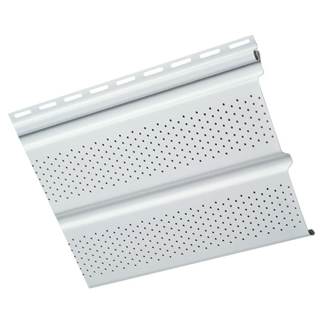 Soffite ventilé en vinyle, deux panneaux, blanc
