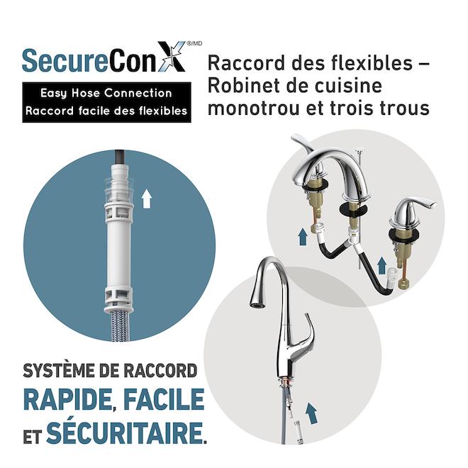 Project Source Dover Robinet de cuisine, laiton zinc, chrome