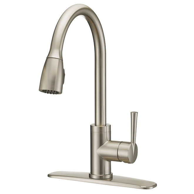 Faucet with Pull-Down Spout - 1 Handle - Brushed Nickel