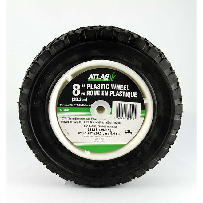 Atlas Universal Plastic Wheel - 8 x 1 3/4