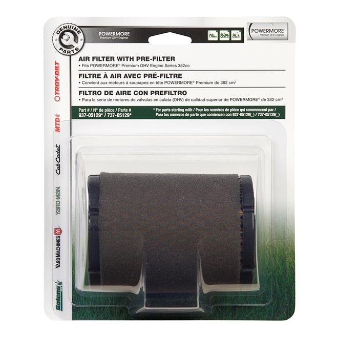 Air Filter - Powermore Motor 382 and 439  cc Series - Black