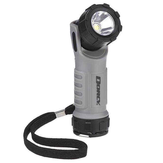 Lampe de poche DEL avec tête à angle, noir/gris