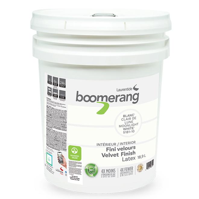 Boomerang Recycled Interior Paint - Latex - 18.9 L - Velvet Finish - Moonlight White