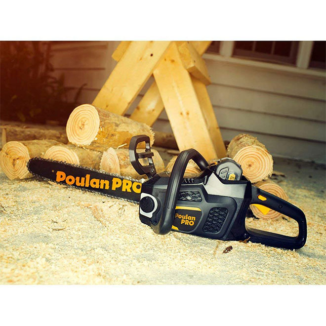 """Cordless Chainsaw - 40 V - 14"""" - Black and Yellow"""