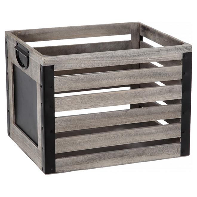 Caisse en bois avec tableau, gris