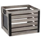 Wooden Crate with Board - Grey