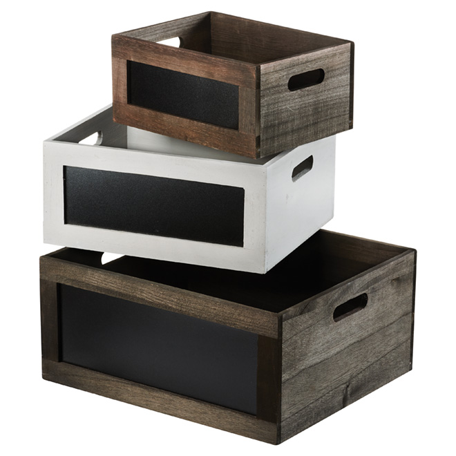 Ensemble de 3caisses en bois, gris, brun et blanc