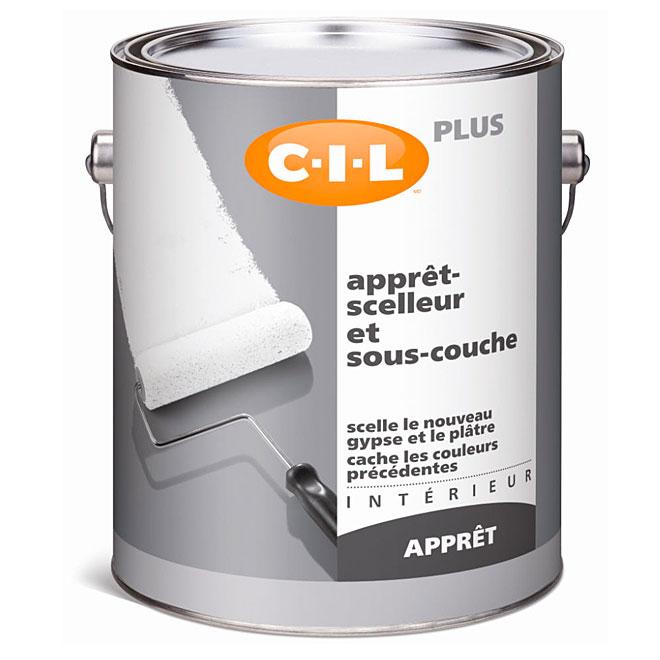Apprêt-scelleur et sous-couche C-I-L, intérieur, latex, 3,78 l, blanc