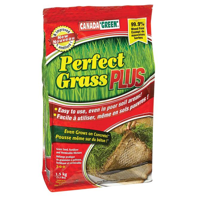 Mélange graminées à pelouse, fertilisant, vermiculite, 1,5kg
