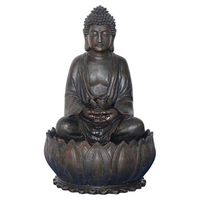 Fontaine Bouddha, 20'' x 13'', brun