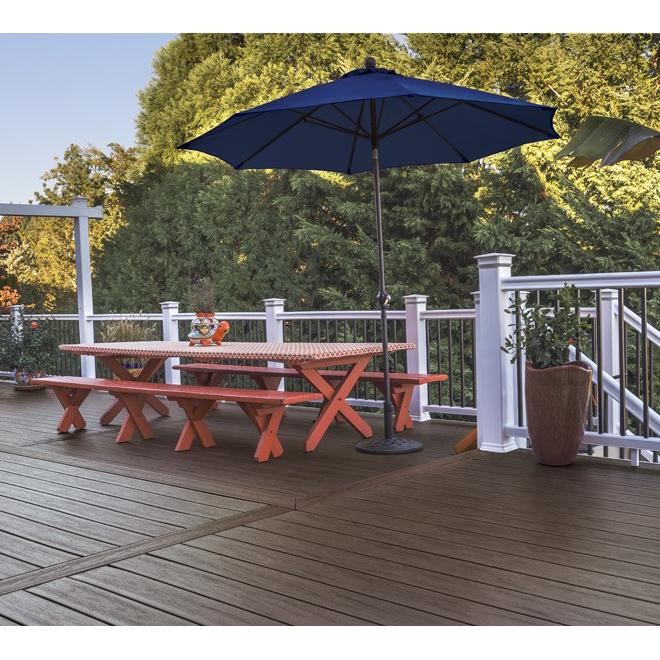 Lame de terrasse en composite TimberTech, Dark Roast, 16 pi L., bord rainuré