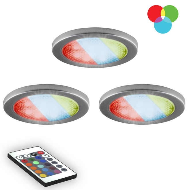 Multi-Colour LED Puck Lights with Remote - 3-Pack