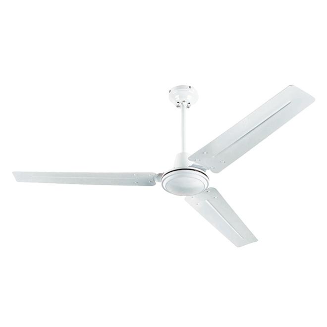 """Industrial Ceiling Fan - 3 Blades - 56"""" - Steel - White"""