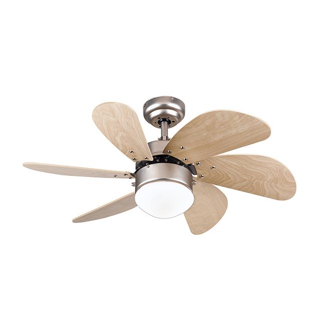 """Turbo Swirl LED Ceiling fan - 6 Blades - 30"""" - Steel - Maple"""