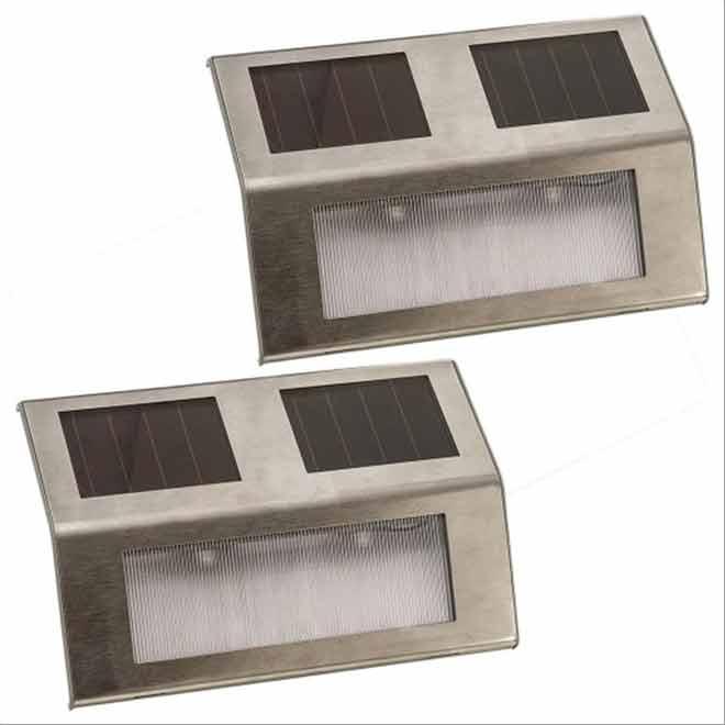 Solar Deck Light - Pack of 2 - Stainless Steel