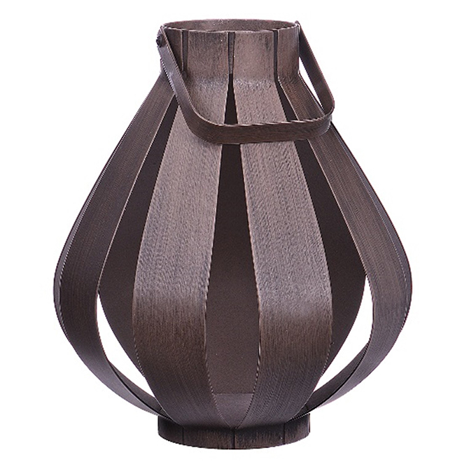 Metal Patio Lantern with Wood Finish - Brown