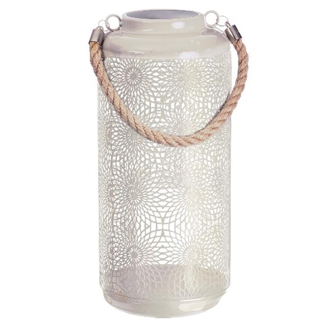 """Lanterne de patio en métal, effet céramique, 20"""", beige"""
