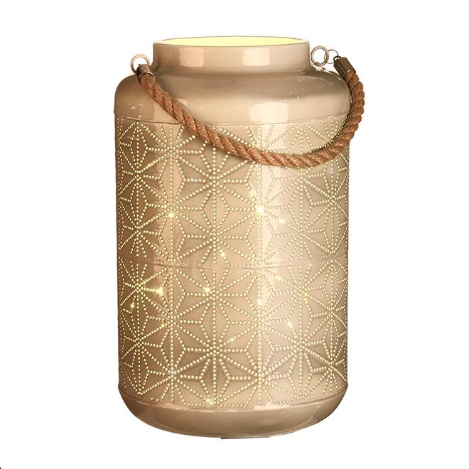 Lanterne lumineuse à DEL, beige, effet céramique ajouré