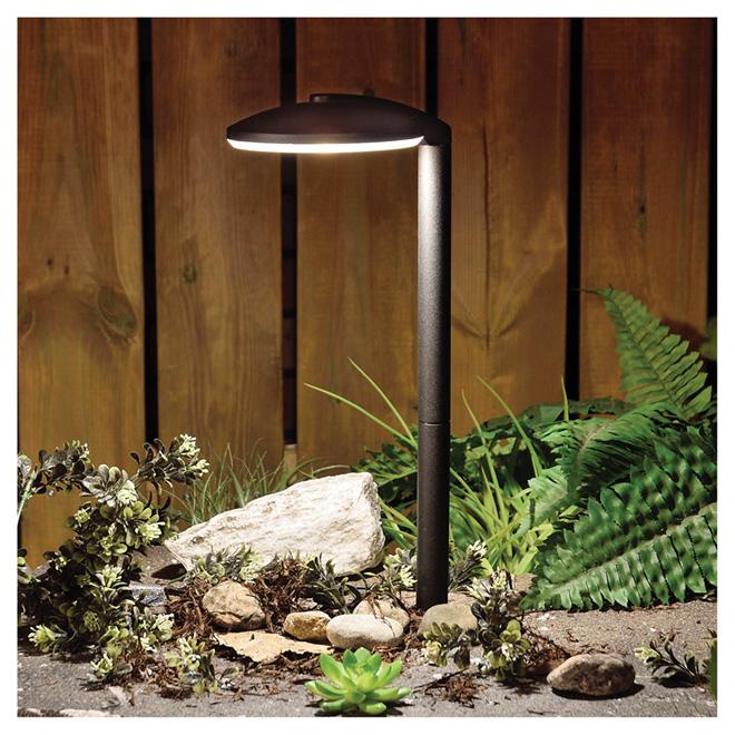 Lumière de jardin à énergie solaire, DEL, noir, paquet de 2
