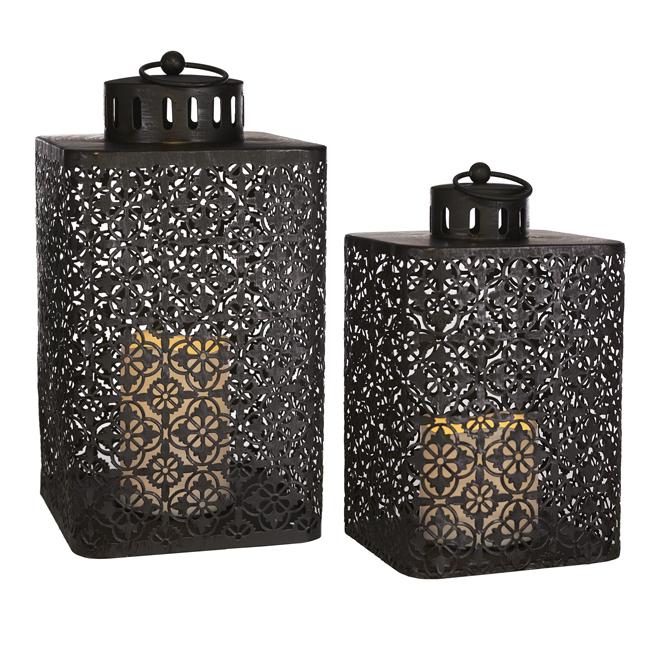 Metal LED Lanterns - Set of 2